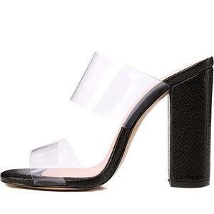 Clear Double Straps Chunky Heels Snake Pattern
